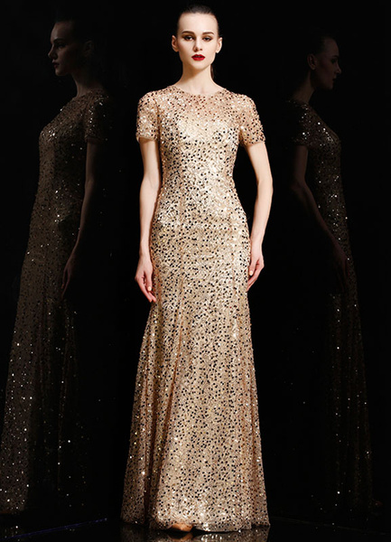 Gold Sequins Satin Maxi Prom Dress 2017 For Women фото