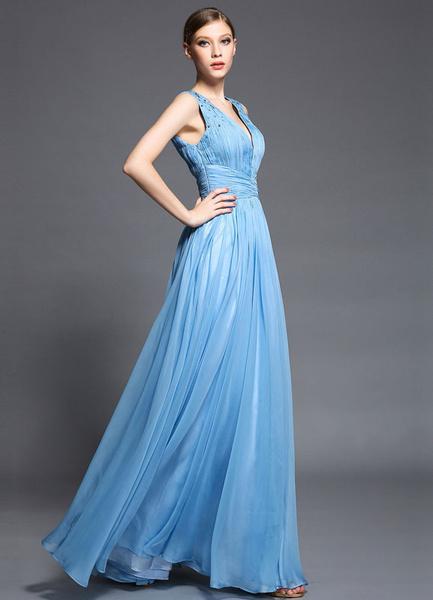Sky Blue Deep-V Prom Dress 2017 Pleated Satin Dress фото