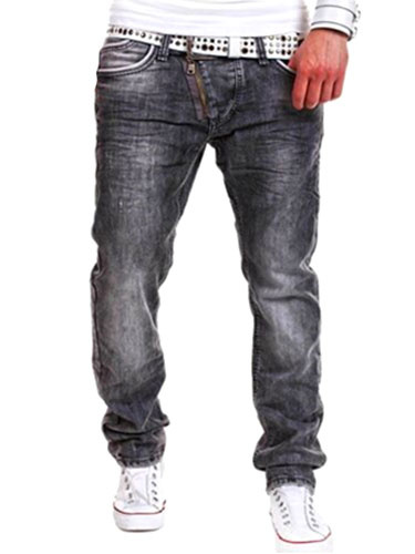 Gray Straight Shaping Denim Jeans for Men фото