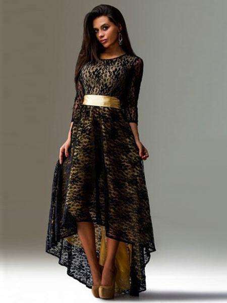 Black High-Low Sash Lace Maxi Dress фото