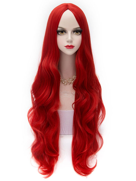 Red Lolita Middle Parted Curly Long Fiber Wig фото