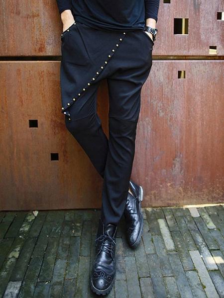 Black Shaping Cotton Harem Chic Pants for Men фото