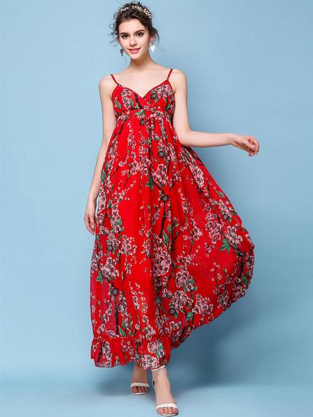 Multicolor Floral Print Straps Backless Chiffon Maxi Dress фото