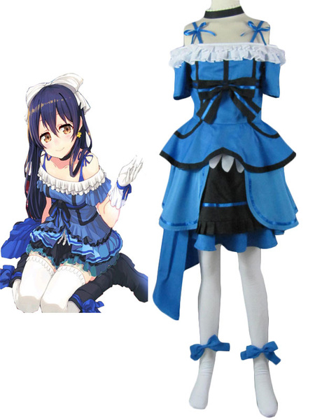 Love Live Sonoda Umi Halloween Cosplay Costume Blue Bow Dress фото