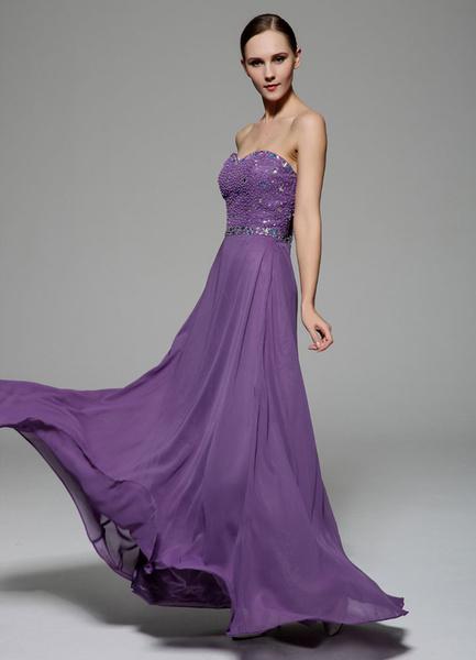 Grape Prom Dress 2017 Sheath Strapless Backless Beaded Chiffon Dress фото