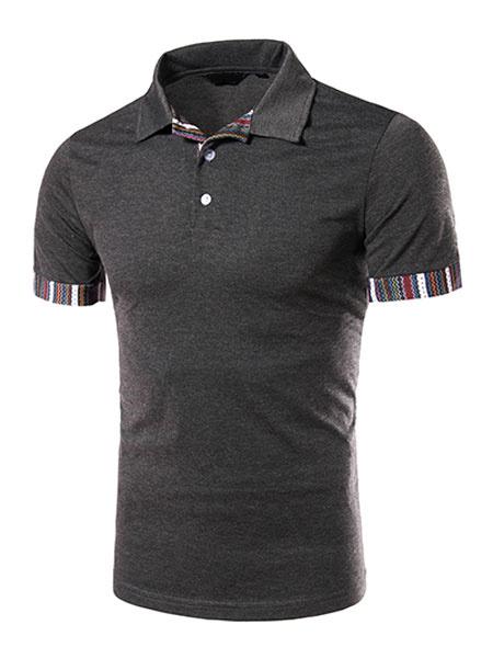 Deep Gray Polo Shirt Print Cotton T-Shirt for Men фото