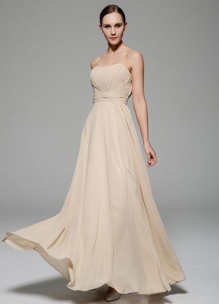 Linen White Prom Dress Sheath Strapless Pleated Chiffon Dress фото