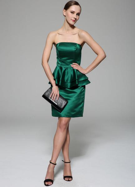 Atrovirens Cocktail Dress Strapless Peplum Knee-Length Sheath Satin Dress
