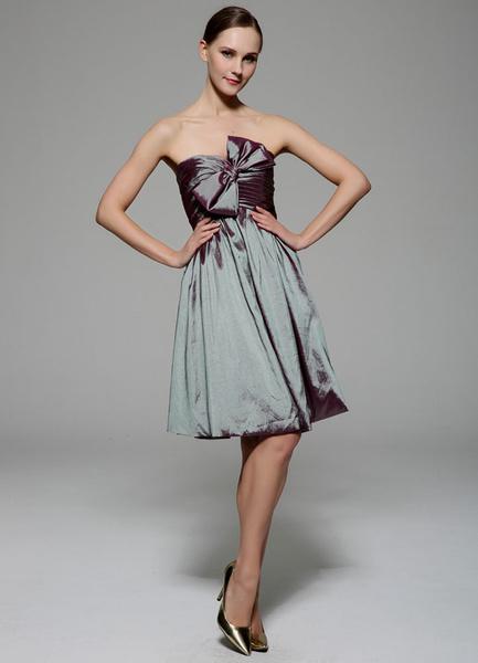 Sage Cocktail Dress Knee-Length Strapless Bow Pleated Taffeta Dress