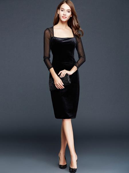 Black Knee-Length Dress Semi-Sheer Mesh Flannel Dress фото