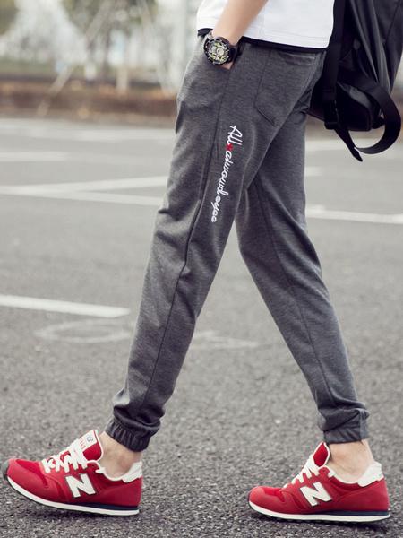 Gray Print Pants Slim Fit Cotton Pants for Men фото