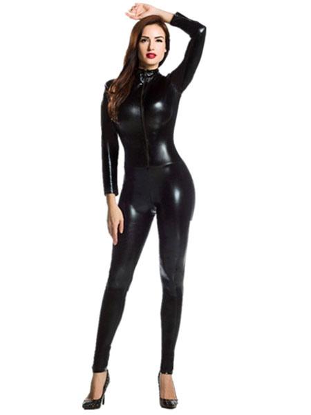 Halloween Black Zentai Slim Fit Sexy Shiny Metallic Jumpsuit for Women фото