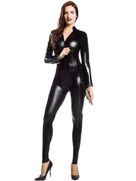 Shiny Black Zentai Metallic Jumpsuit Sexy Halloween Costume Cosplay фото