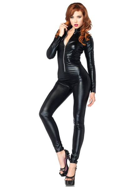 Halloween Black Zentai Shiny Metallic Chic Jumpsuit for Women фото