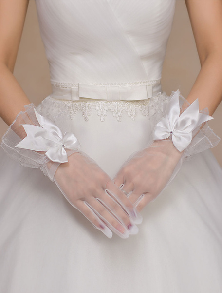 Ivory Wedding Gloves Semi-Sheer Bow Tulle Gloves фото