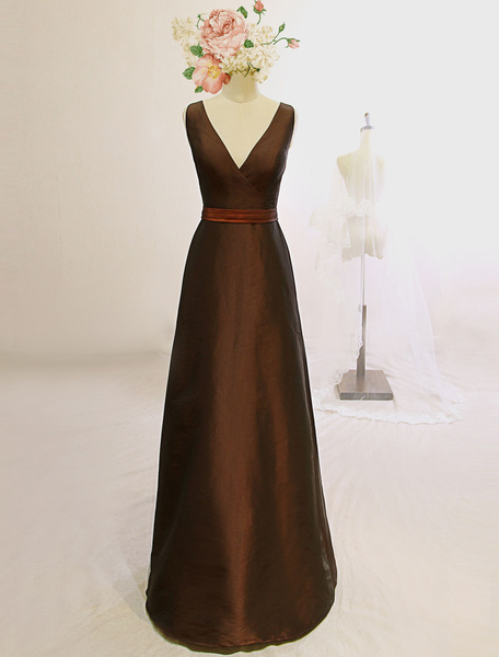 Brown Evening Dress Sash Deep-V Taffeta Floor-Length Dress фото