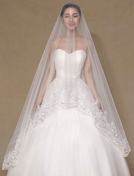 Ivory Wedding Veil One-Tier Applique Tulle Lace Chic Bridal Veil(300cm Length)