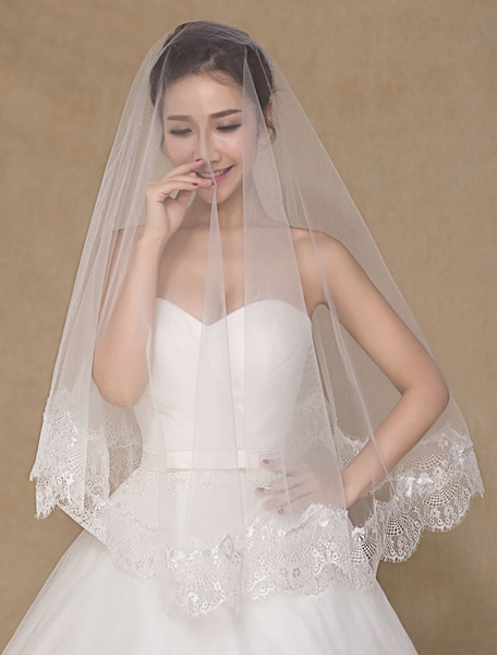 Ivory Wedding Bridal Veil Applique Semi-Sheer Lace Veil(150cm Length)