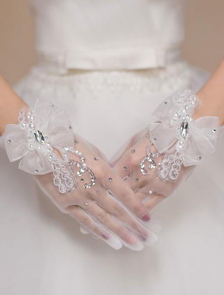 Image of Avorio nozze guanti guanti in Tulle fiocco strass