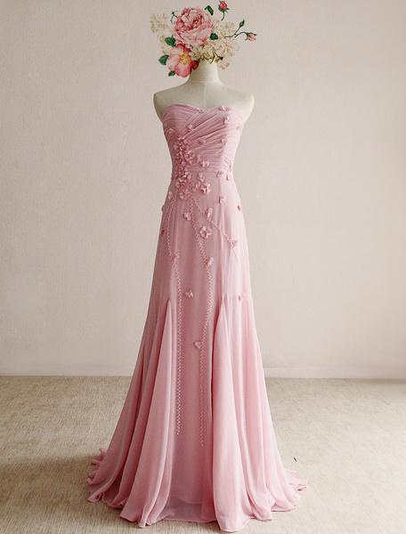 Pink Prom Dress 2017 Applique sans bretelles torsadées robe en mousseline de soie Satin plissé
