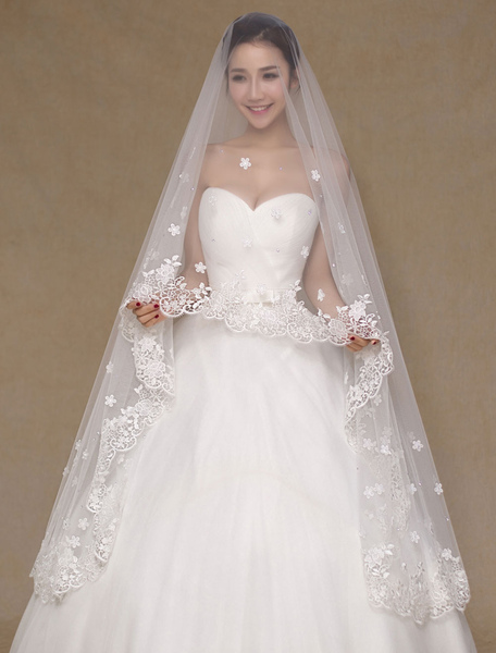 Ivory Wedding Veil One-Tier Applique Lace Bridal Veil(300cm Length)