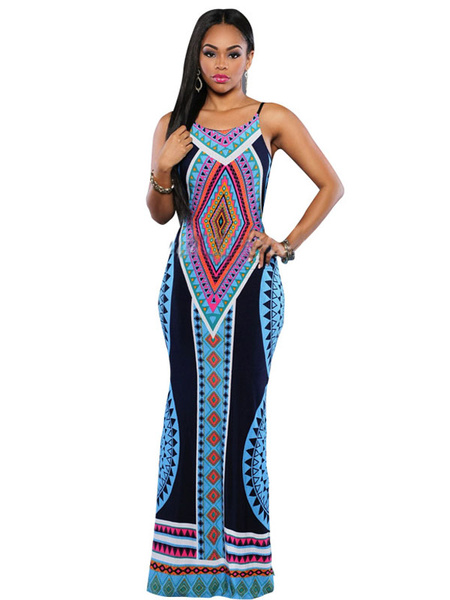 Multicolor Maxi Dress Straps Backless Print Acetate Dress фото