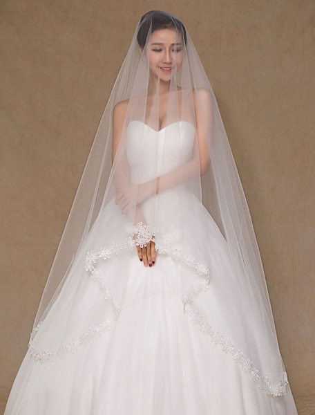 One-Tier Applique Edge Wedding Veil Tulle Lace Bridal Veil(300cm Length)