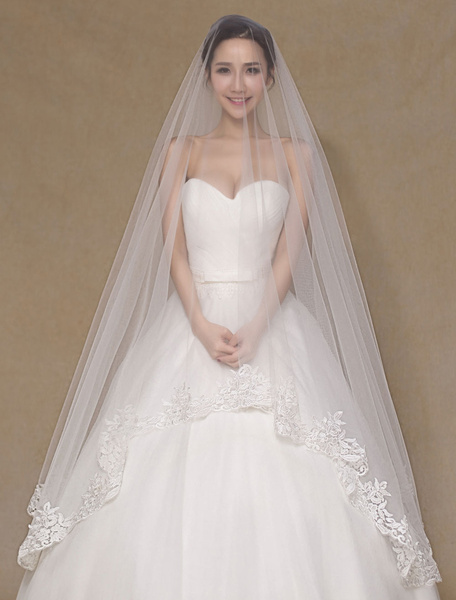 Cathedral Wedding Veil Lace Applique Waterfall Tulle 1 Tier Ivory Long Bridal Veil