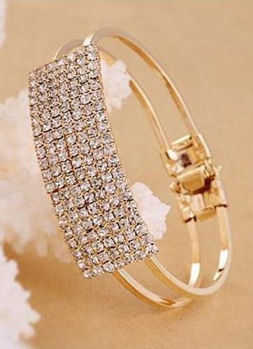 Image of Bracciale in oro bracciale strass metallo quadrato per le donne