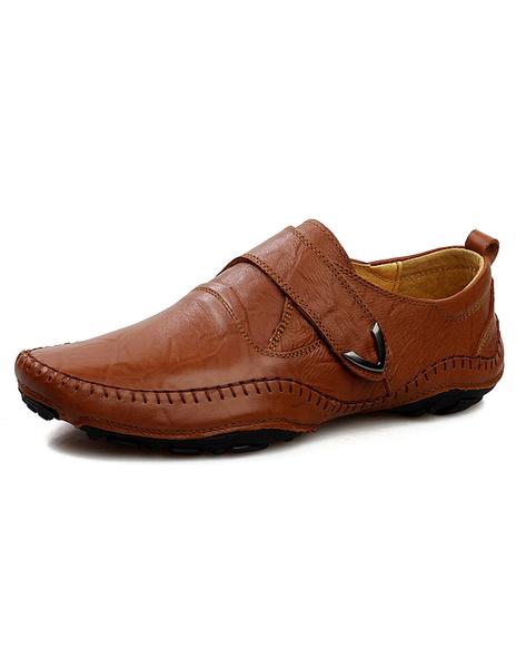 Коричневые туфли скольжения на кожаные модные Повседневная обувь для мужчин