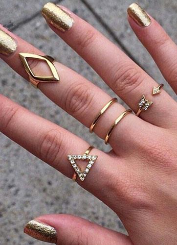 Gold Rings Geometric Shape Rhinestone Metal Rings for Women фото