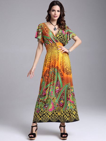 Multicolor Maxi Dress Floral Print Deep-V Milk Silk Dress
