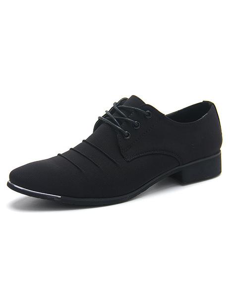 Черные туфли на шнуровке с острым носком холст обувь для мужчин