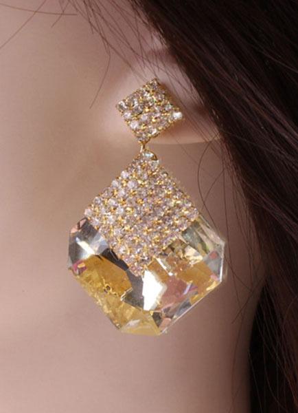 Gold Earrings Rhinestone Metal Earrings for Women фото