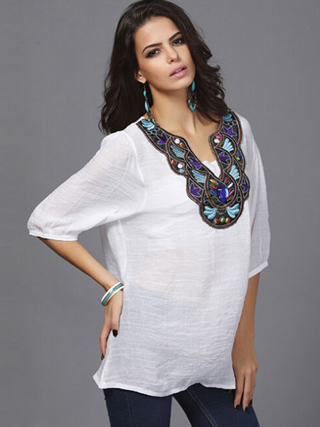 White Oversized Top Floral Print Embroidered Cotton Flax Blouse for Women фото