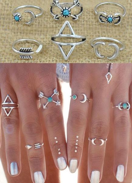 Silver Knuckle Rings Geometric Pattern Rings for Women