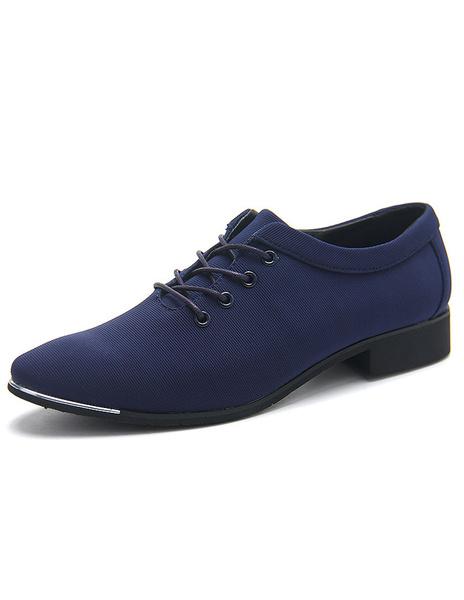Синие кожаные ботинки указал носок зашнуровать микро замшевые туфли для мужчин