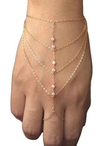Image of Anello in oro bracciale strass metallo braccialetto strati per le donne