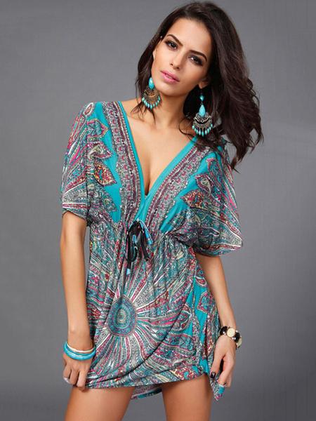 Multicolor Cover Up Backless Print Deep-V Milk Silk Dress, Green