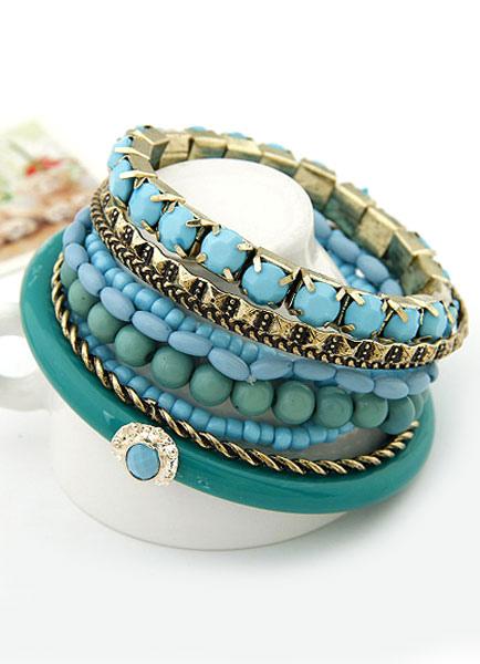 Bracciale blu bohemien a strati Bracciale in metallo per le donne