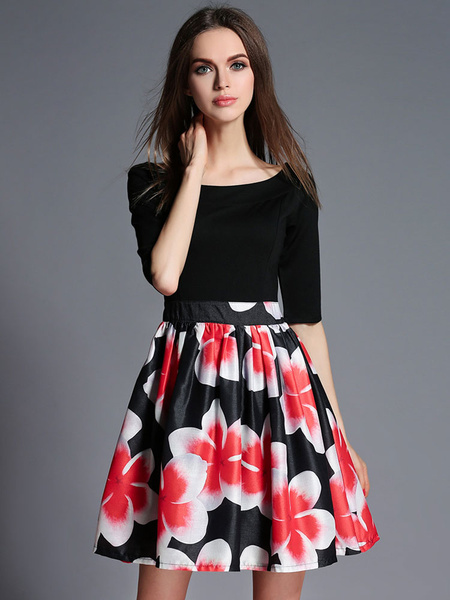 Black Flare Dress Floral Print Organza Dress