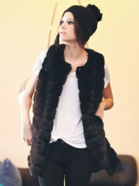 Image of Faux Fur Vest Black Women Faux Fur Jacket Sleeveless Trench Coat