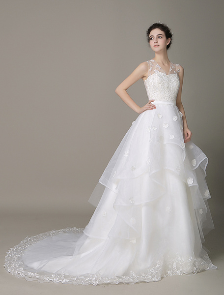 Lace Applique A-Line Wedding Dress Illusion Flower Organza Tiered Bridal Gown With Chaple Train Mila