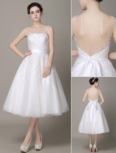 Ivory Wedding Dress Illusion Strapless Embroidered Tea-Length Wedding Gown Milanoo фото