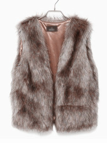 Brown Chic Vest Faux Fur Polyester Vest for Women фото