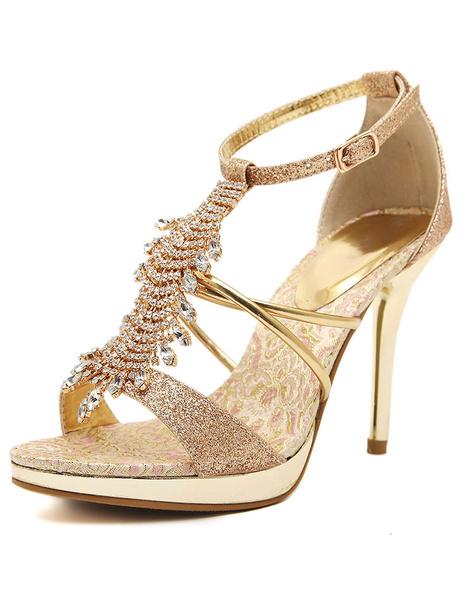 Gold Sandals Rhinestone Glitter High Heels фото
