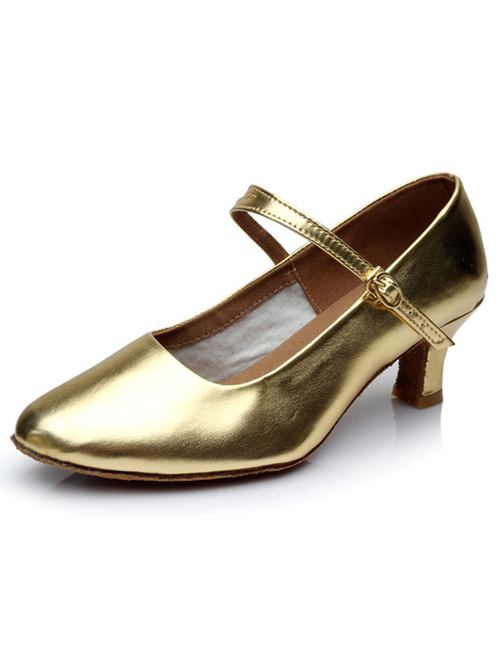 Gold Latin Dance Shoes Patent PU Straps Heels