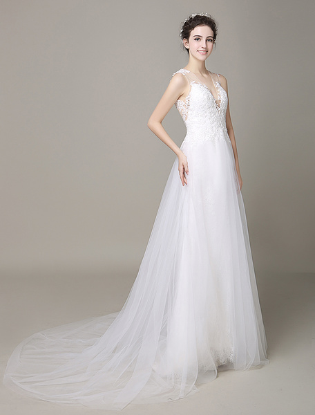 Ivory Wedding Dress Illusion Deep-V Strapless Lace Tulle Wedding Gown Milanoo фото