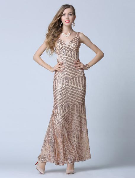 Gold Prom Dress Sheath Straps Deep-V Sequins Evening Dress фото