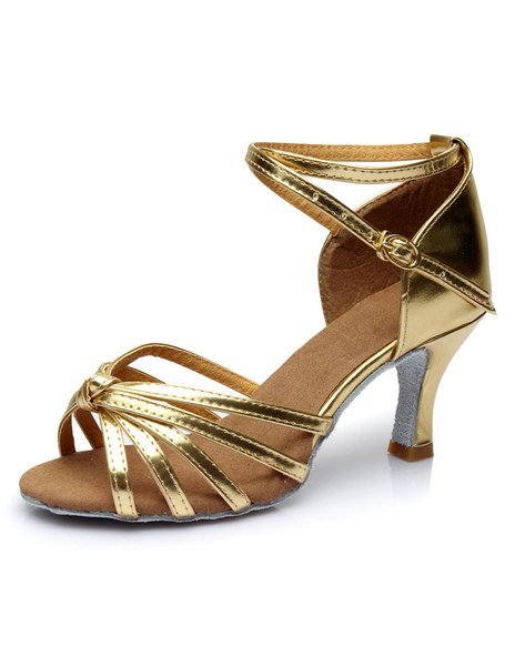 Gold Latin Dance Sandals Straps PU Heels
